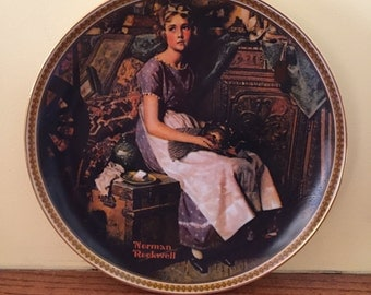 Vintage Norman Rockwell Limited Edition Dreaming in the Attic Display Plate