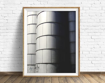 "photography, large art, large wall art, printable art, instant download, digital download art, wall art, industrial decor - ""Three Silos"""