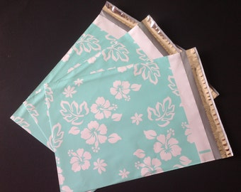 100 Designer Poly Mailers 10x13 White Turqouise Hawaiian Hibiscus Flowers Envelopes Shipping Bags Spring Mother's Day