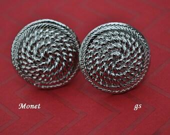 Vintage Monet Earrings, Silver Tone, Large Button Earrings, Clip On Earrings, Silver Earrings, Round Earrings, Monet Jewelry, GS603