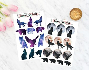 Moon & Animals Set Planner Stickers boho