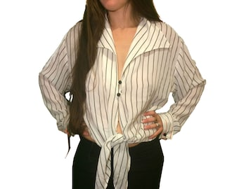 Groovy Disco 90's Club Kid Blouse / Striped Minimalist Collared Cropped Button Down / 1990's Tie Up Shirt / Black and White Stripes Crop Top