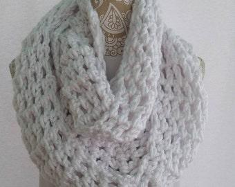 New York White Infinity Crochet Scarf