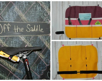 Bicycle Billfold™, Yellow & Pink Bike Tool Roll Fully Equipped with Tube Patch Kit and Multi Tool, Bike Saddle Bag