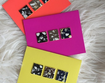 Blank Notecards- Neon with Metallic squares