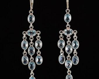 Blue Topaz dangle earrings  ,Handmade earrings,Sterling Silver Earrings,Dangle earrings, Yoga earrings, Leverback earrings,Long earrings
