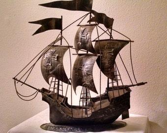 Vintage Model Tin Sailing Ship