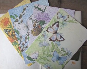 Vintage Just A Note Current Stationary Butterfly