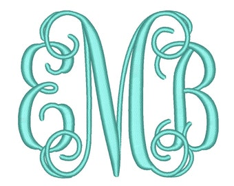 4 Size Vine monogram 3 letters monogram Font BX fonts Embroidery Fonts, Machine Embroidery Designs - INSTANT DOWNLOAD