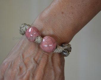 Bracelet with pink raku ceramic pearls