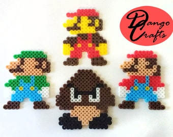 Perler Marios and Goomba Badges Magnets