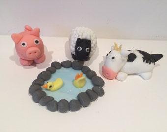 Edible Farmyard animals cake toppers