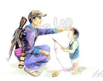 Hmong Art Painting, Watercolor, Poster, Prints, Man, Father, Child