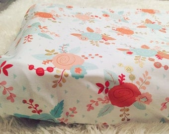 Coral gold and mint changing pad cover | designer changing table pad| floral nursery | shabby chic changing pad cover| girls changing pad |