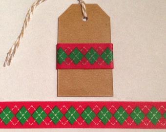 """30"""" Christmas Argyle Washi Tape Sample"""