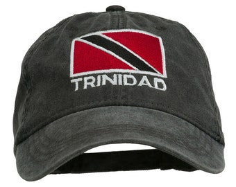 Trinidad Flag Embroidered Washed Cotton Cap