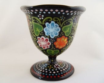 Hand-Painted One-of-a-Kind Black Ceramic Floral Sundae Cup (7 oz.)