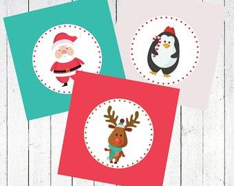 christmas tags printable santa rudolph penguin - Santa and Friends Tags Printable