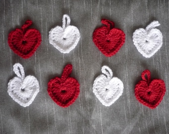 Set of 8 Heart decorations, white and red, crochet