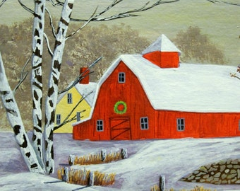 Cabin in Snowy Woods painting