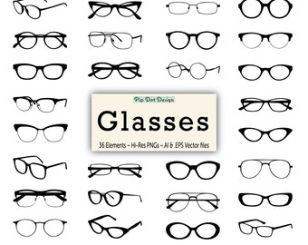 "Glasses Silhouette Vector Clip Art - ""Glasses"" eyeglasses, clipart elements"