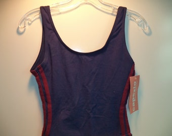 Racer stripe swim suit// Athletic leotard bodysuit// Dead stock 80s-90's bathing one pice/ Vintage Capezio// Women size small medium