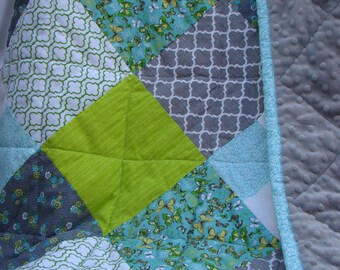 Baby Quilt / Butterfly / Modern / Gray, Mint, Teal, Green / Minky