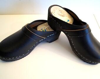 Vintage Black Leather Wooden Clogs Size EUR 36 Genuine Leather Shoes Wooden Platform Clogs Swedish Shoes Boho Festival Shoes Sweden Clogs