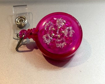 Pink crystal retractable badge clip, womens id holder, badge holder