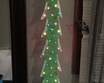 Colorful Wooden Christmas Tree w/ Lights