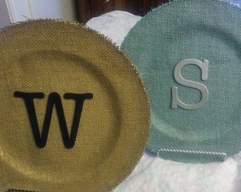 Monogram Burlap Plate with Frame