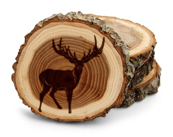 Tree Bark Coasters Personalized Engraved Deer Stag Antlers Big Buck horn Cuerno Ciervo Wedding Gifts,Housewarming,Anniversary Gift,1007