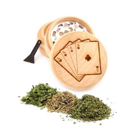 Playing Cards Engraved Premium Natural Wooden Grinder Item # PW91316-25
