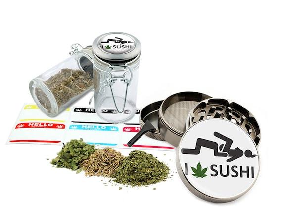 "I Leaf Sushi - 2.5"" Zinc Alloy Grinder & 75ml Locking Top Glass Jar Combo Gift Set Item # G50-8715-8"