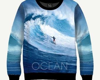Surfing, Ocean - Men's Women's Sweatshirt   Sweater - XS, S, M, L, XL, 2XL, 3XL, 4XL, 5XL