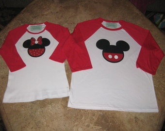 Custom Minnie Mouse or Mickey Mouse Disney Inspired Raglan Shirt Personalized Family Photo Vacation