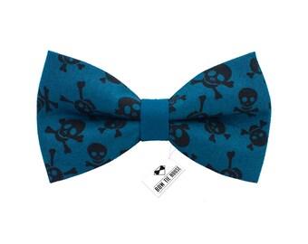 Black Skull bow tie | 100% cotton bow tie | blue bowtie | Children bow tie | Baby bow tie | Mens bow tie | Philipp Plein bow tie