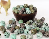 30 Acrylic Fluted Round Beads Shades Of Turquoise Matte Finish Size 8mm