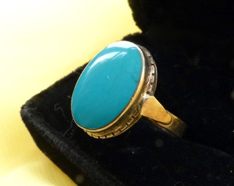 A Statement Turquoise and silver ring.