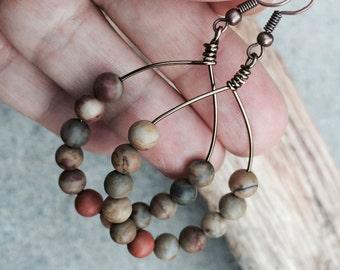 Rainbow jasper, hoop earrings, wire earrings