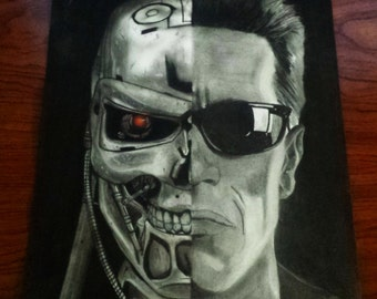 2 T800 terminator original charcoal drawing A3 42x30cm / 16 × 12 ""