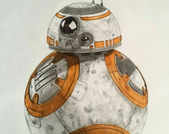 "Bb8 Star Wars VII original art graphite drawing A3 16 x 12 ""/ 42x30cm"