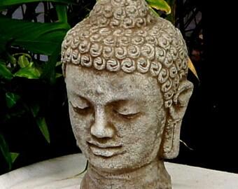 """Buddha Head MD Concrete Ornament Statue 10.5""""H X 6.5""""W  #246"""