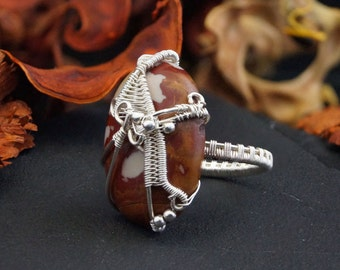 Silver ring with Jasper / wire wrapped