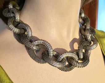 Chunky Vintage Metal Necklace with matching Bracelet