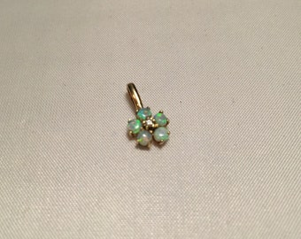 Opal And Diamond 9ct Yeallow Gold Pendant