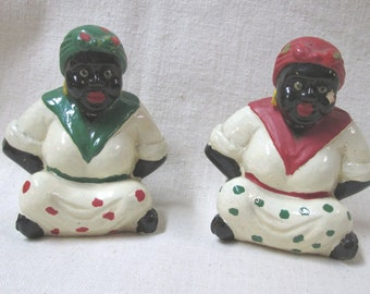 Vintage Pair of Black Americana Seated Mammy Figures