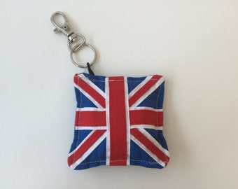 United Kingdom flag small cushion key ring / key fob/key chain