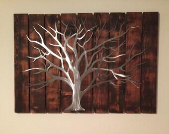 Large Wood & Metal Tree Wall Art