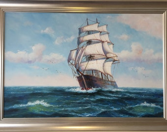 For Sale Galleon on the Seas Oil Painting (P26)
